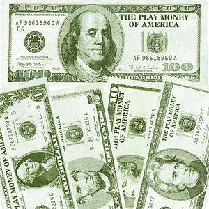 Store dollars sedler til casino temafest som er perfekte som pynt og dekoration.