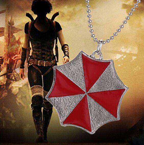 Фильмы ювелирные изделия обитель зла зонтик мужчины в ювелирные изделия ожерелья красный зонтик кулон ожерелье