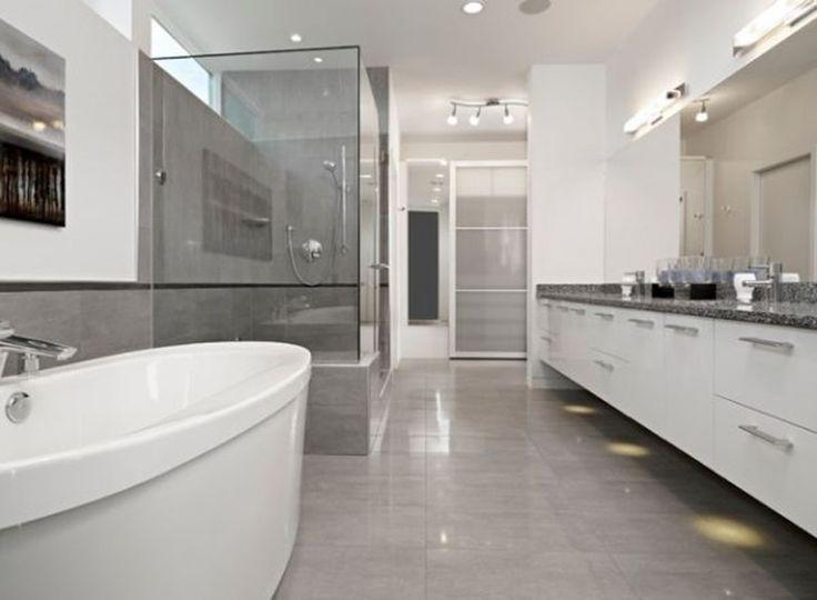 Bathroom Modern Grey Bathroom Elegant Floor Tiles Marble Vanity Large Wall  Mirror Chrome Faucet Corner Glass Shower Kit Handshower Silver Mabis 3  Bathroom ...
