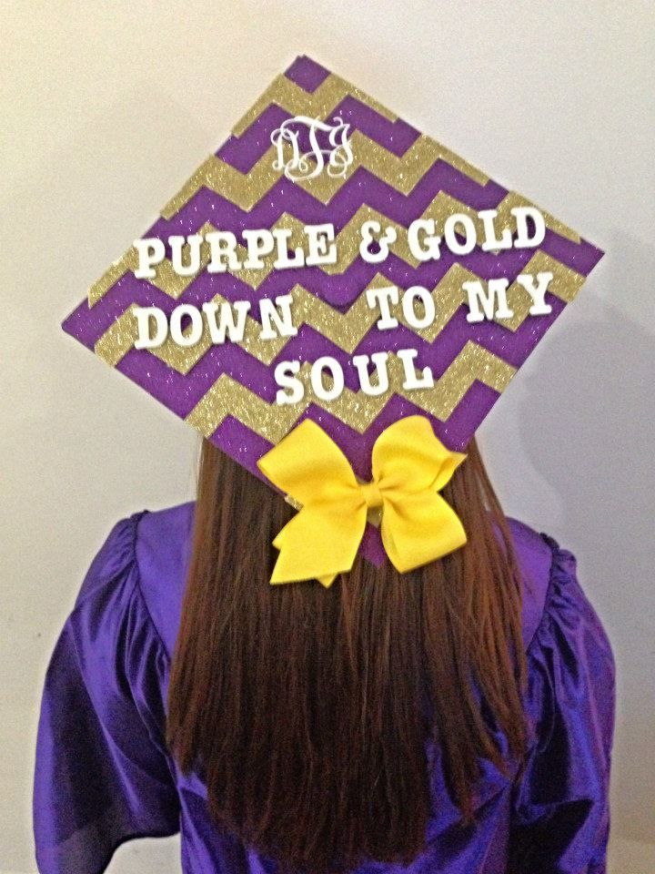 Purple and Gold Down to My Soul - #ECU #Graduation Cap