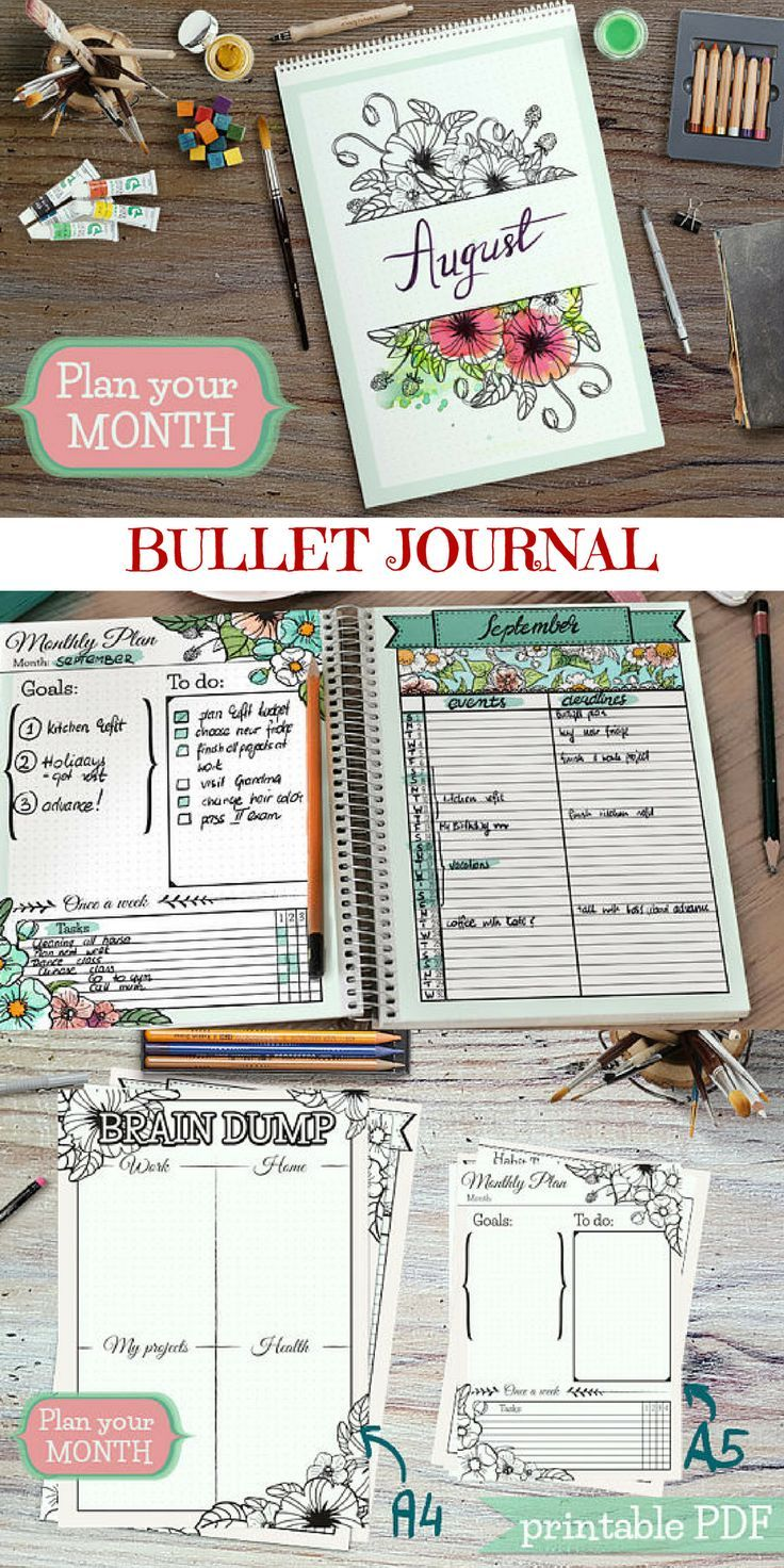 Bullet journal printables. #bulletjournal #planners #goals #organization #ad