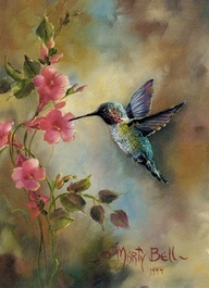 """The Humming Bird"" painting by: Marty Bell  Reminds me of Momma <3"