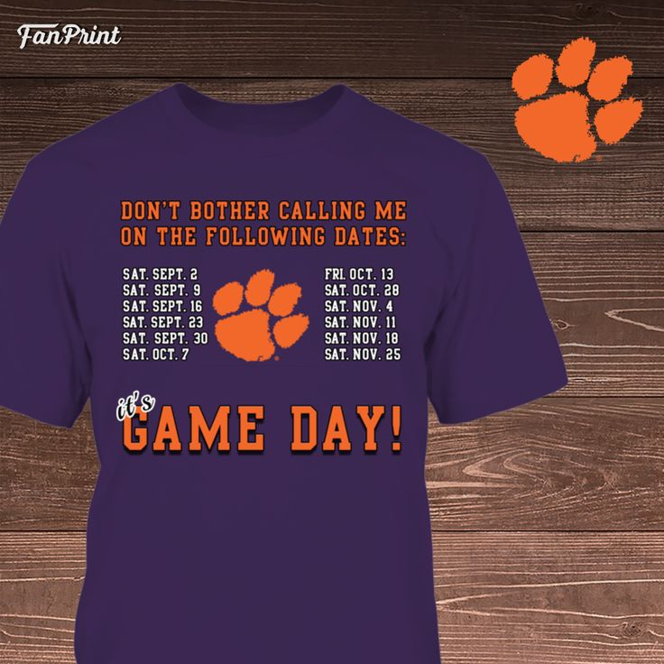 Check out these Clemson University Tigers Limited Edition shirts and other apparel! Click on the image. Have fun! :) - Clemson Tigers, Game Schedule https://www.fanprint.com/clemson-tigers-game-schedule?ref=5048