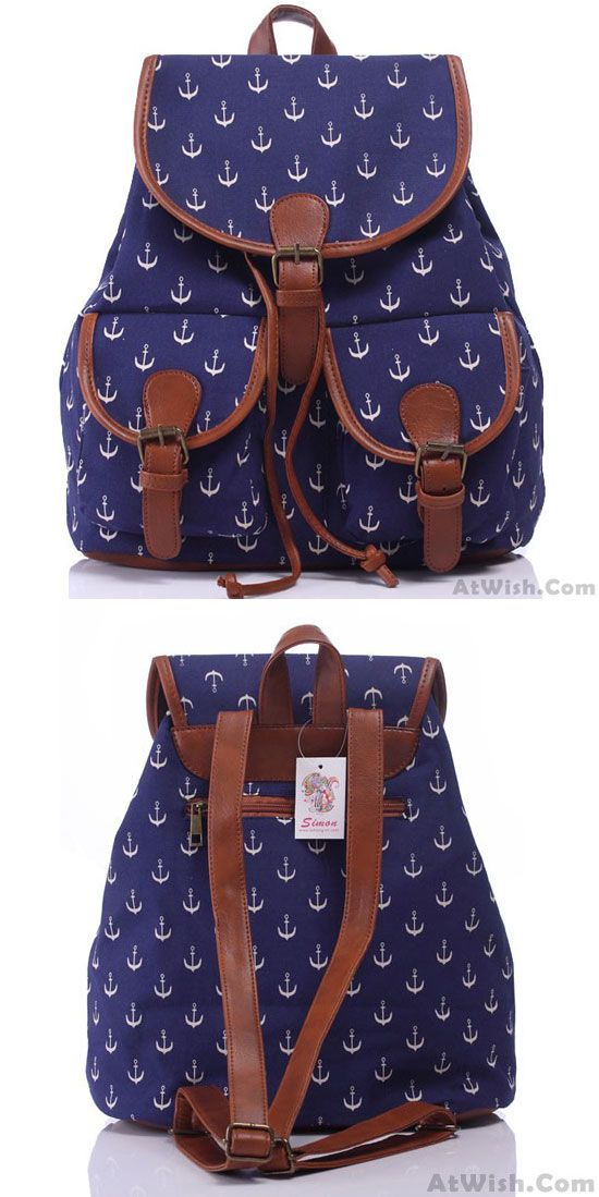 Leisure Navy Blue Anchor Rucksack Girl College Canvas Schoolbag Backpack for big sale! #canvas #anchor #backpack #school #college #bag #girl #student #leisure #travel
