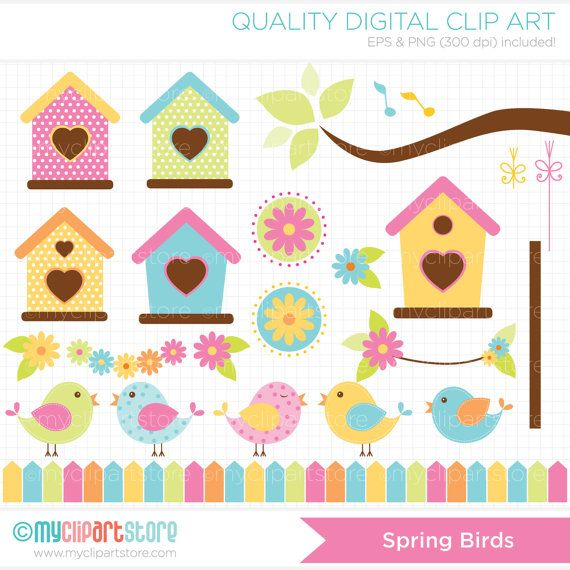 SPEND $30+ GET 1/2 OFF YOUR ENTIRE ORDER!! | COUPON: HALFOFF30 Or Click Here: http://etsy.me/2n47zKG to add it automatically to your total. SPRING BIRDS Vector Clip Art - Pastel / Spring colored birds, birdhouses, tree branch FILE FORMATS: Vector EPS | PNG 300dpi (Transparent