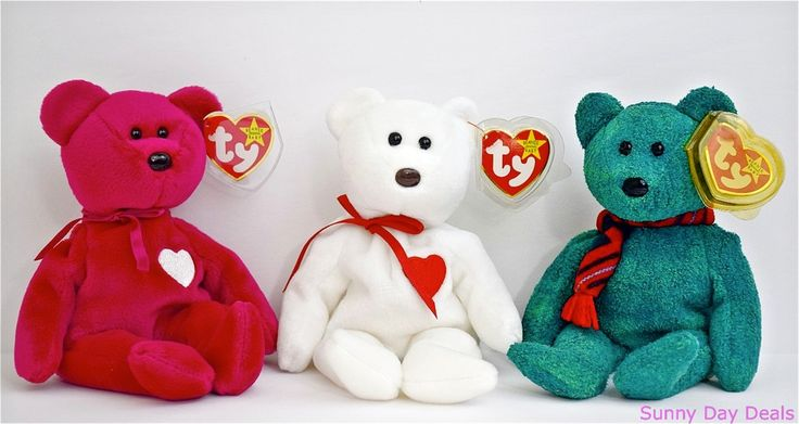 TY Beanie Baby Bears Valentina Valentino Wallace Retired Lot of 3 Mint  #Ty