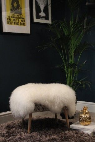 Sheep skin foot stools, high end beautiful designer furniture made in England Uk By Anthony Devine for Smithers of Stamford luxury brand
