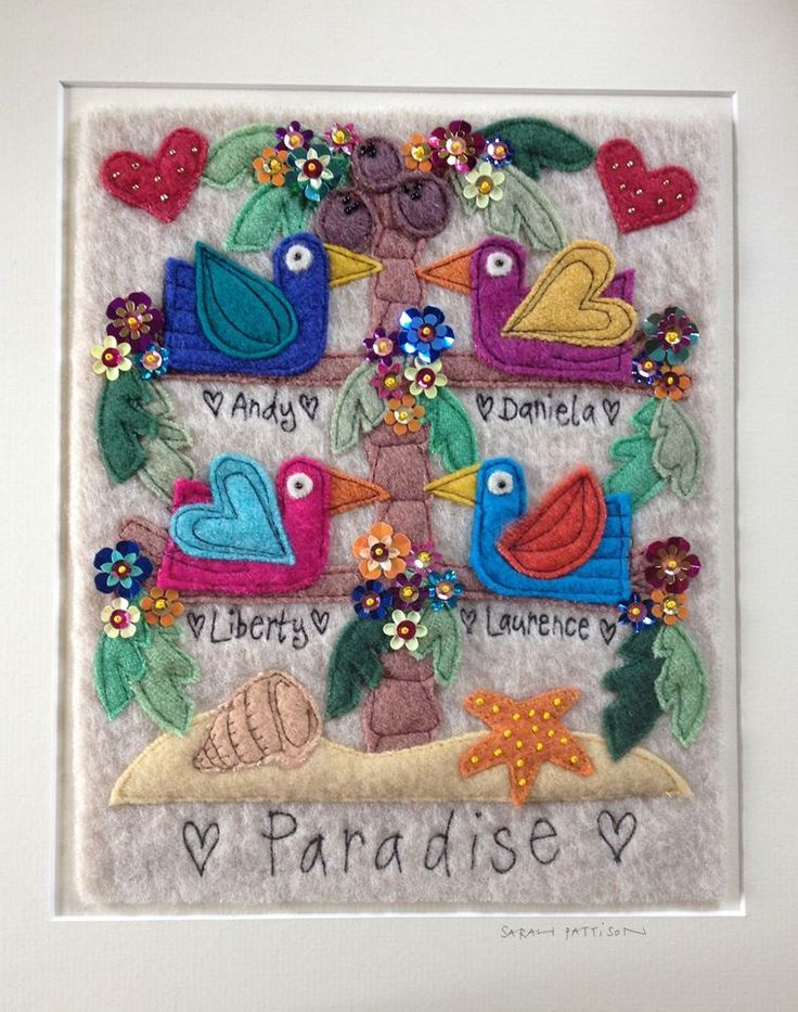 Personalised Family Tree embroidery - made using hand dyed wool, free machine embroidery, machine embroidery, sequined and beaded by hand. from £75 inc postage. Copyright Sarah Pattison Design. To order please email me sarah.pattison603@btinteret.com