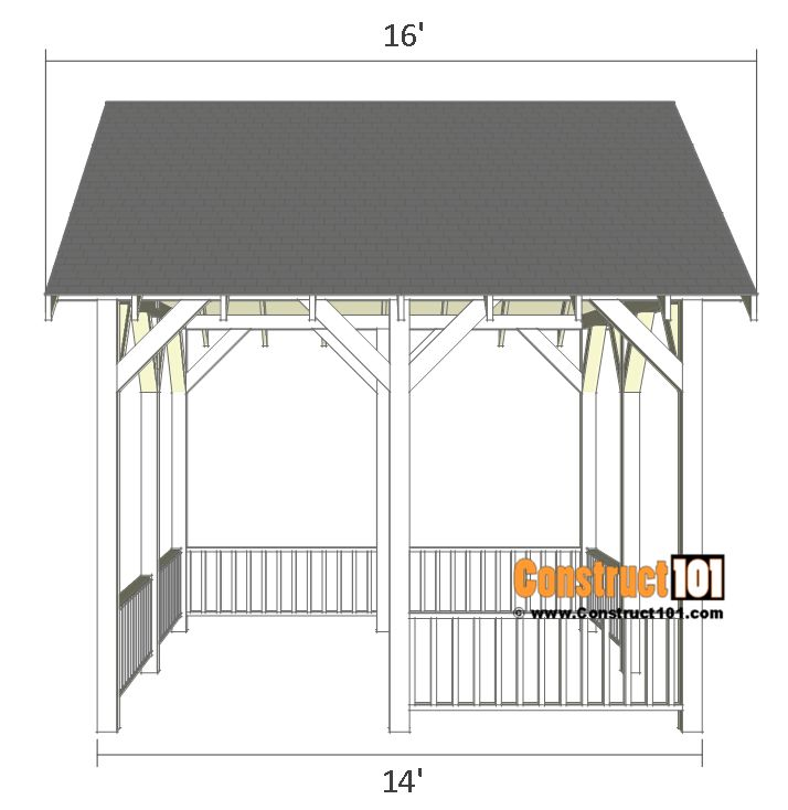 Pavilion Plans 14x16 DIY Free Outdoor Projects | Backyard ...