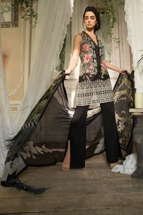 1367b0100f Sobia Nazir 3 Piece Embroidered Custom Stitched Suit - L18-11A - Black