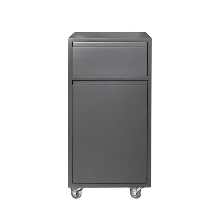 Trestle drawer charcoal with drawer and door on castors