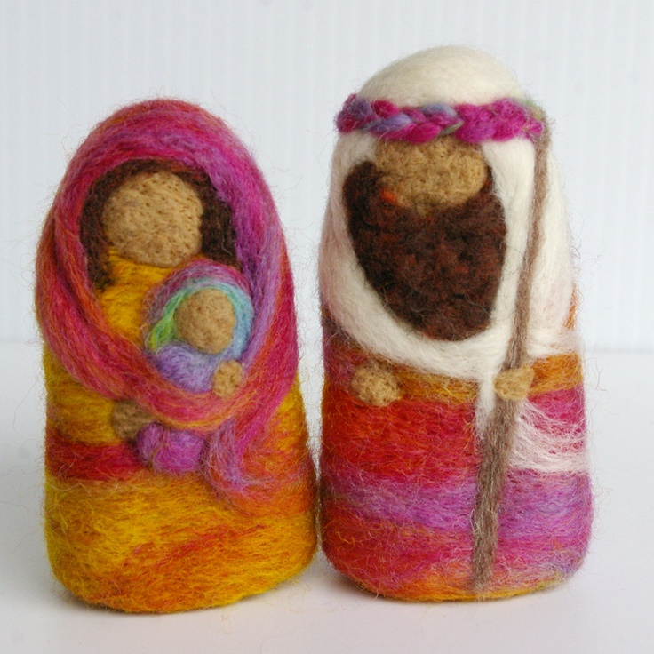 Kids Christmas Party -- Happy Birthday Jesus -- Christmas Nativity : Felted Wool Holy Family [Etsy]