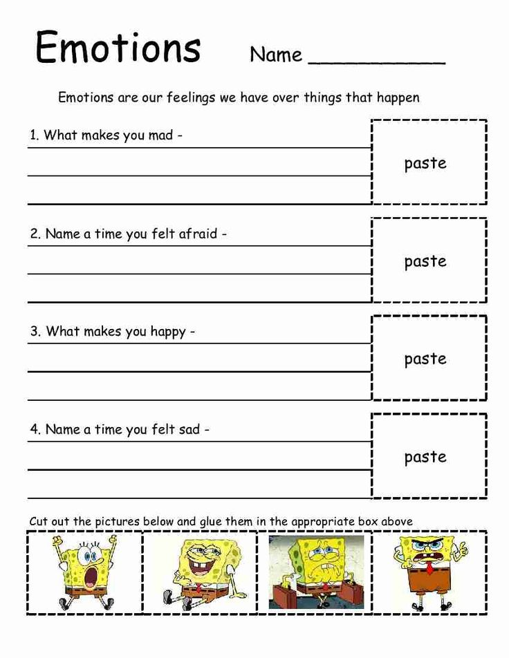 Spongebob Emotions Sheet This Is Great To Use In Therapy