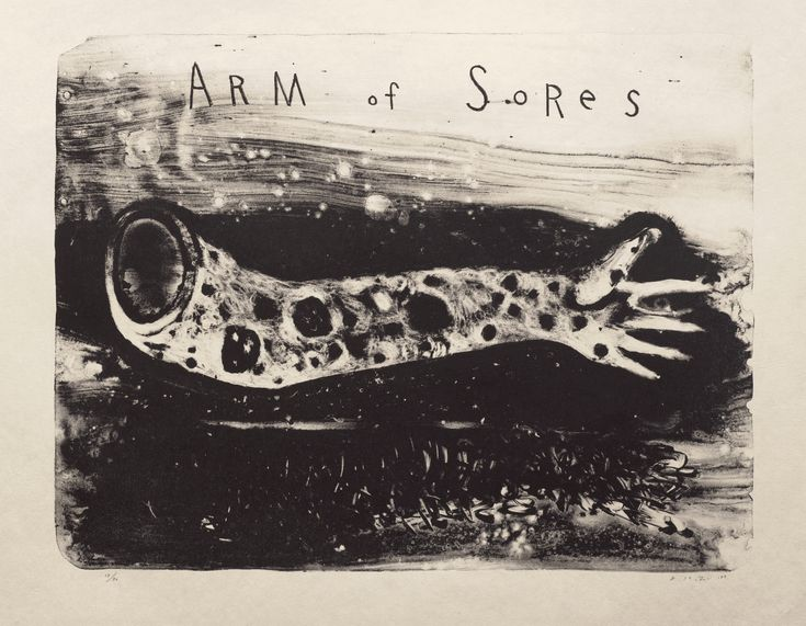 David Lynch, United States b.1946 / Arm of Sores 2007 / Lithograph on Japanese Bunko-Shi paper / 66 x 89cm