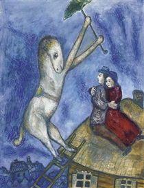 Artwork by Marc Chagall, Le cheval à l'ombrelle et les amoureux sur le toit, Made of gouache, pastel, oil, wax crayon and watercolour on paper