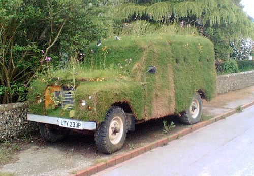 land rover flower bed