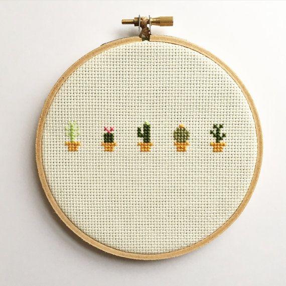Cactus Cross Stitch Art du cerceau broderie par SasssyStitcher