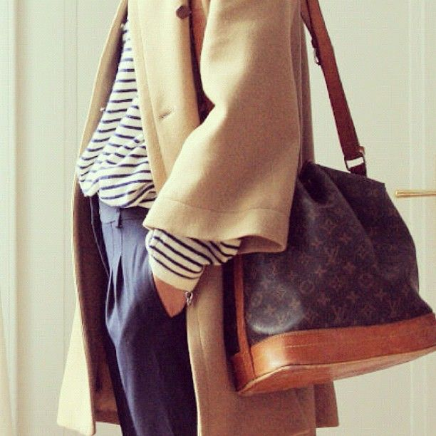 The classics // Louis Vuitton + stripes + camel                              …