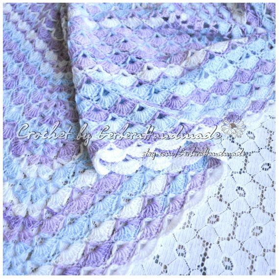 OOAK Blue Violet crochet baby blanket  Crochet by GerberaHandmade, $84.99