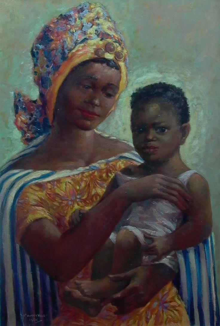 Portret van Antiliaanse moeder met kind.
