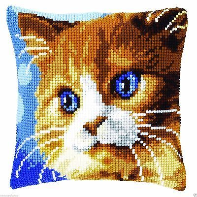 Brown Cat Chunky Cross Stitch Cushion Front Kit 40x40cm Vervaco