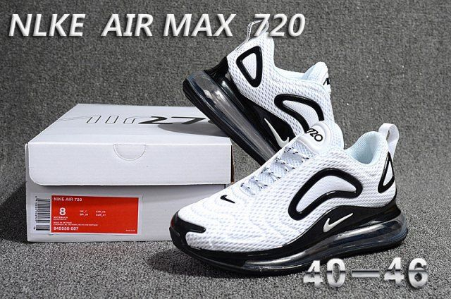 size 40 61e76 a901e Nike Air Max 720 Men s Running Shoes White Black