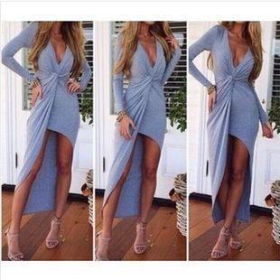 速卖通ebay热销货源 欧美风大牌范时尚性感修身V领爆款连衣裙