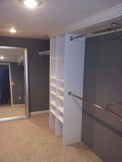 A homemade closet...I see Derrick and Papa Bear working on this very soon