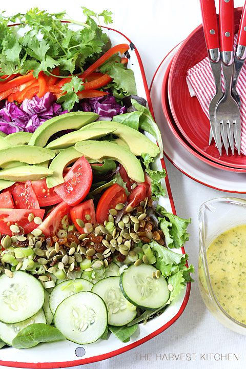 from The Harvest Kitchen / Detox Salad with Cilantro Lime Vinaigrette - this salad is chockfull of nutritious detoxifying ingredients and the cilantro lime vinaigrette is so good you'll want to drink it! @theharvestkitchen.com