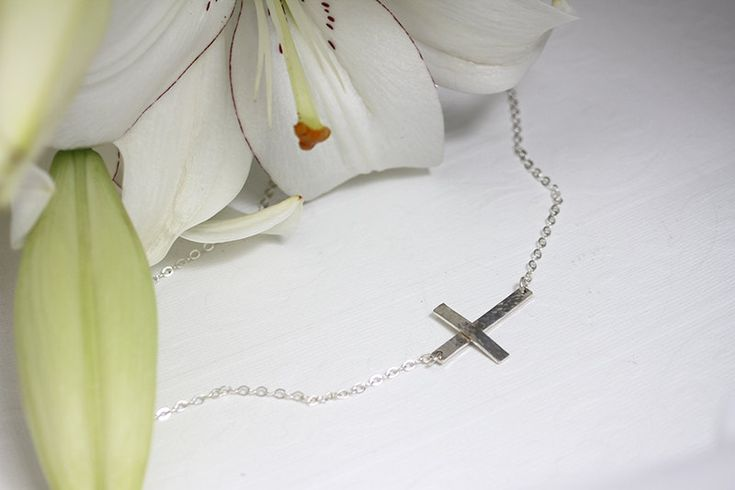 Cross necklace, sideways cross necklace, sterling silver necklace, religious necklace, religious pendant, sterling silver chain