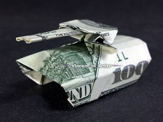 Money Origami ARMY TANK - Made with $100 bill