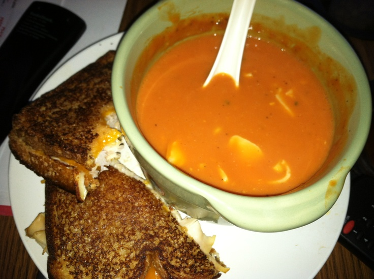 Trader Joes boxed low sodium tomato soup with smoked Gouda and sweet corn and a buffalo chicken and Colby cheese on sweet whole wheat bread. Yum