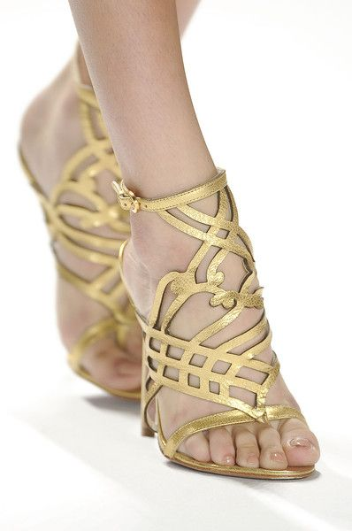 gold sandals  Elie Tahari Spring 2012 - Details  via Mary Derrick