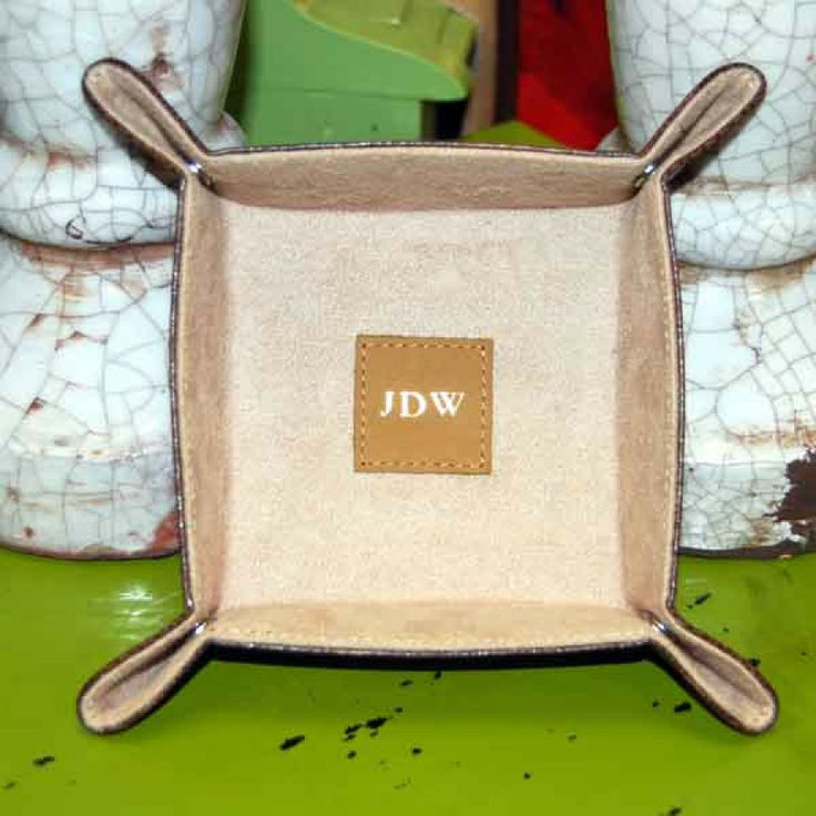 Brown Corner Snap Tray with Foil Stamp Monogram