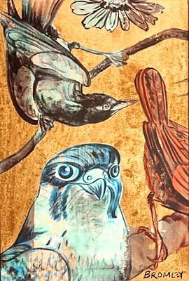 """DAVID BROMLEY """"Birds"""" Polymer & Gold Leaf on Canvas 90cm x 60cm"""