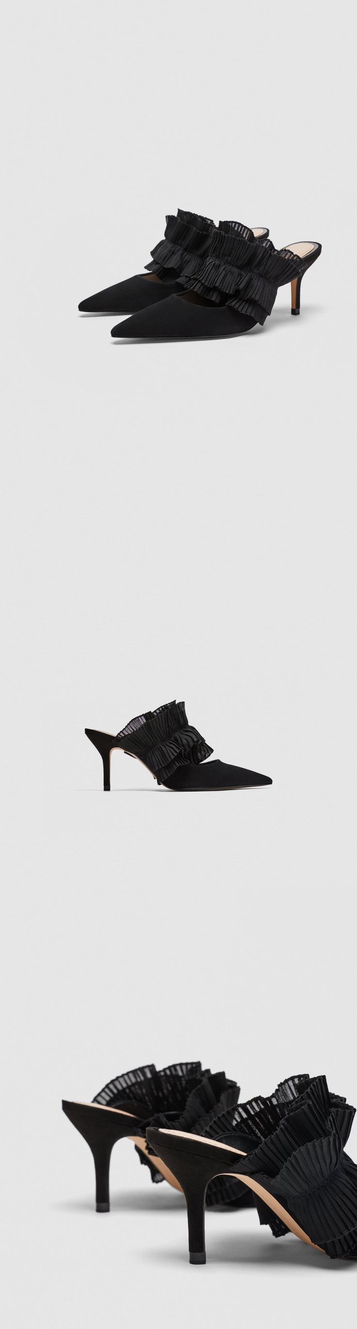 Leather Mule Court Shoes With Ruffles // 89.90 USD // Zara // Black leather mule high-heel court shoes. Pleated ruffle detail on the instep. Pointed toe. Heel height of 6.8 cm. / 2.6″