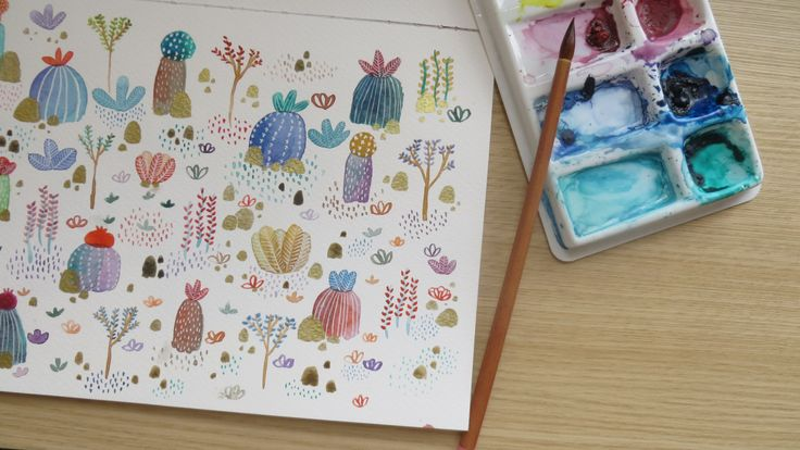 Eliblue Ilustración & diseño #illustration #ilustracion #cactus #succulents #suculentas #watercolor #acuarelas #bogotá