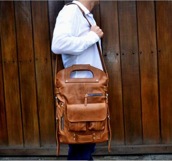 TRANSFORMER BAG FOR ACTIVE PEOPLE. MADE FROM COW LEATHER.