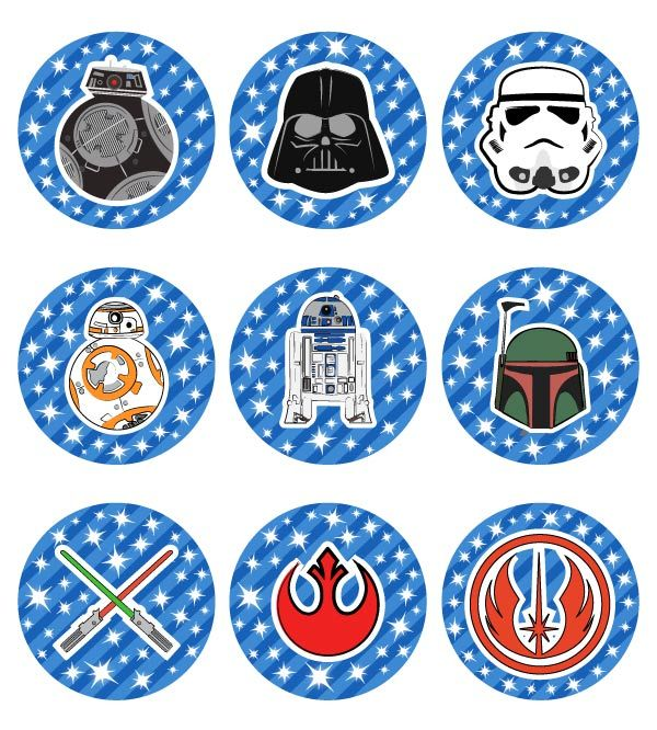 16x EDIBLE Star Wars Black and white Birthday Wafer Paper 4cm uncut