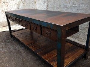 vintage industrial bench with drawers