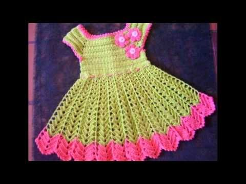 Vestidos de bebes a crochet - YouTube