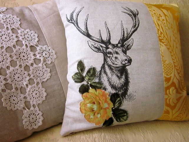 Cushion Cover with Woodland Deer and Flowers in Linen and Yellow Silk Damask £18.00
