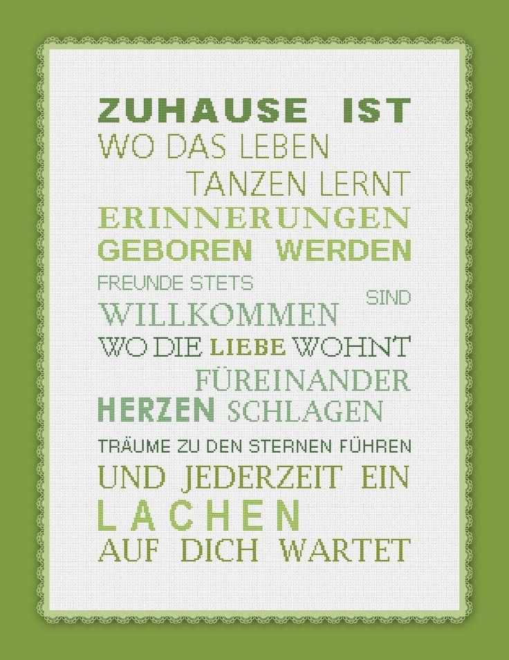 2484 Stickvorlage Kreuzstich Zuhause ist... in 5 Farben