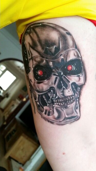 17 best images about skull tattoos on pinterest evil for Terminator face tattoo