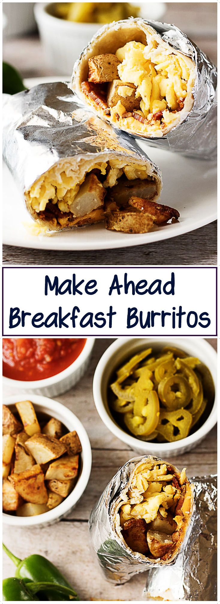 A hearty and filling make ahead breakfast burrito recipe with bacon, eggs, potatoes, and cheese wrapped in a warm tortilla. via @berlyskitchen