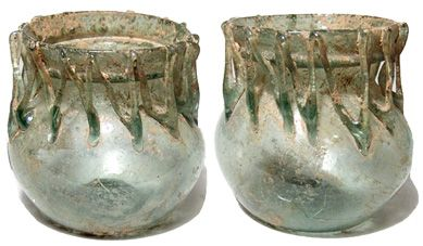 Eastern Mediterranean, 4th - 5th Century AD. Excellent Roman yellow-green glass short-necked jar with zigzag threading.