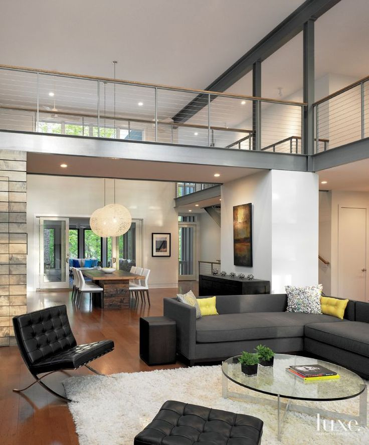 18 Elegant Living Room Kitchen Open Concept Fresh Home: Modern White Great Room With Exposed Steel Beams