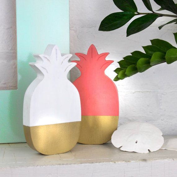 Gold Pineapple Decor Wooden Desk Accessory Shelf Fruit Modern Dorm Decoration Beach Tropical