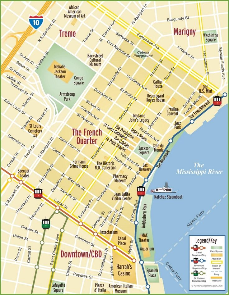 Punchy image within map of new orleans french quarter printable