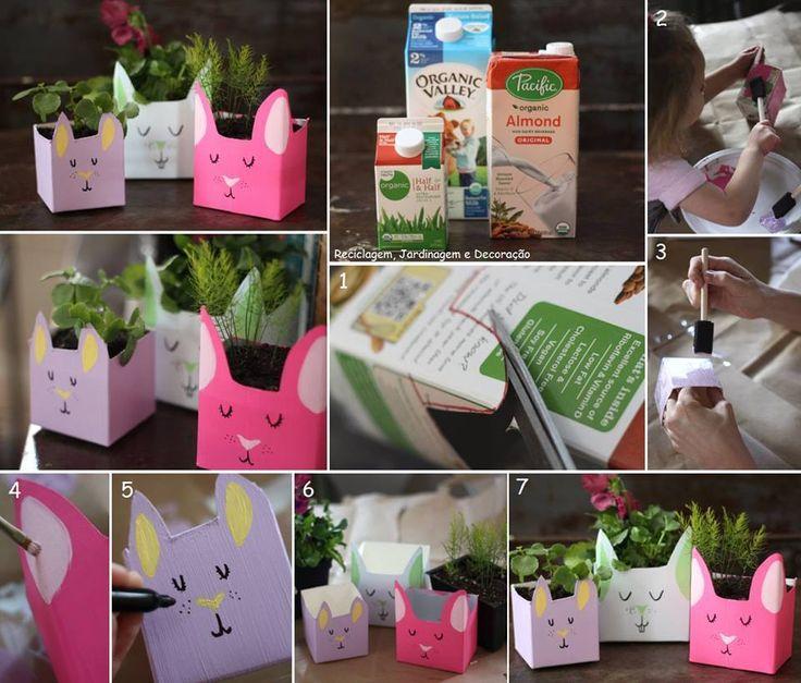 Pots de fleurs en forme de lapins avec des briques de lait